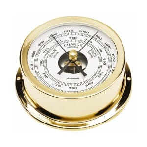 95 mm brass barometer. Gold plated