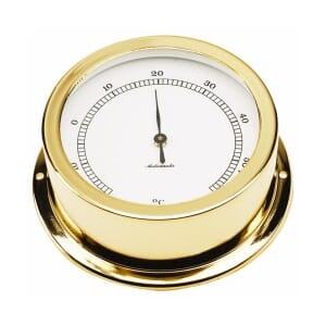 95 mm brass thermometer. Gold plated